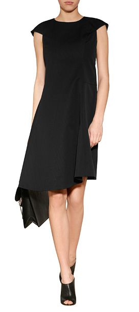Styled with a side-swept asymmetrical hem, Jil Sander\'s cap sleeve ...