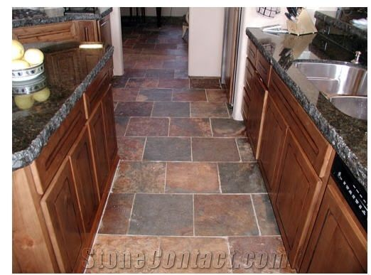 Slate Floor Kitchen | Wild Fire Slate Kitchen Floor United States Slate  Tiles,Slabs