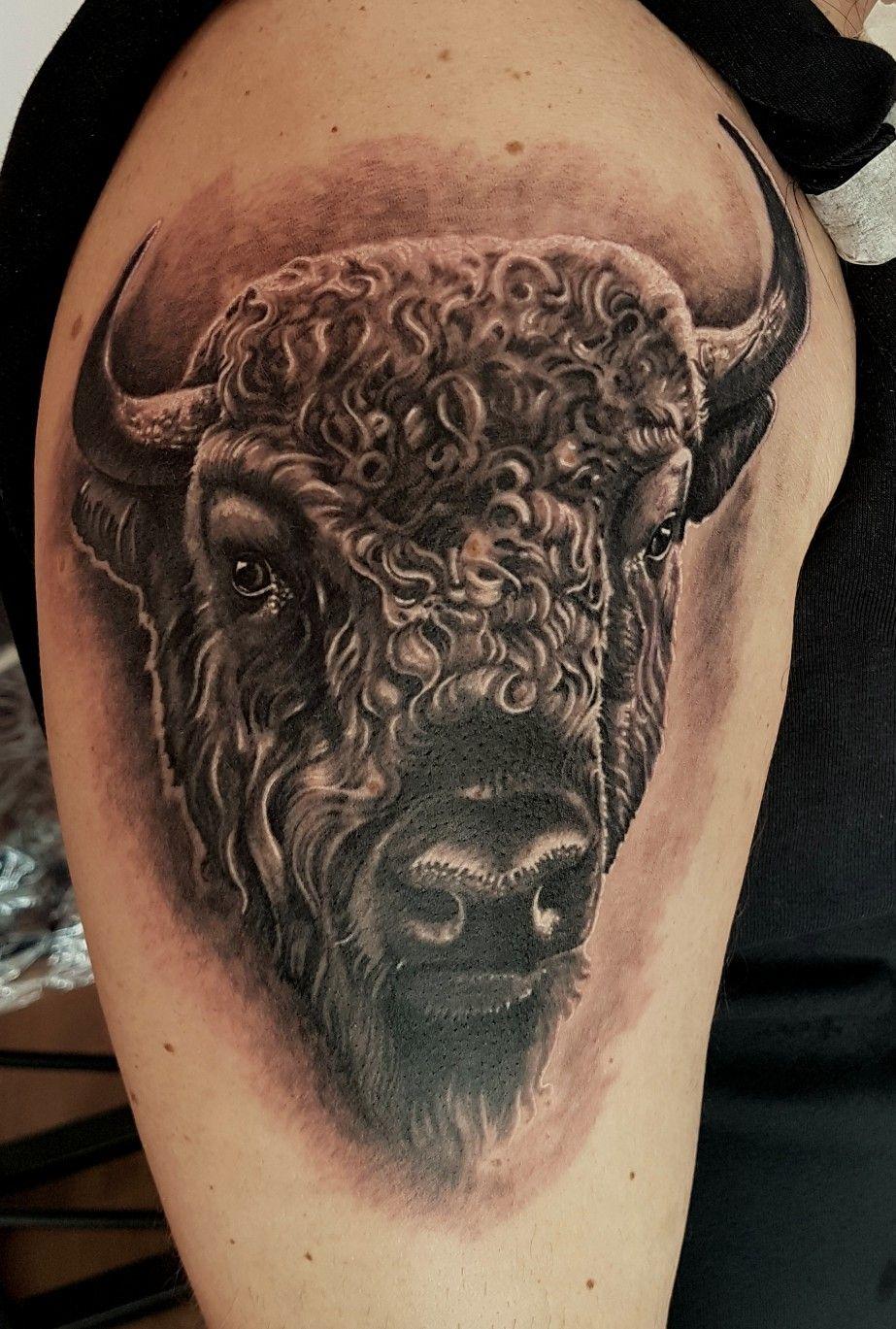 Buffalo Tattoo I Have Done A Few Weeks Ago Buffalo Tattoo Tattoos Bison Tattoo