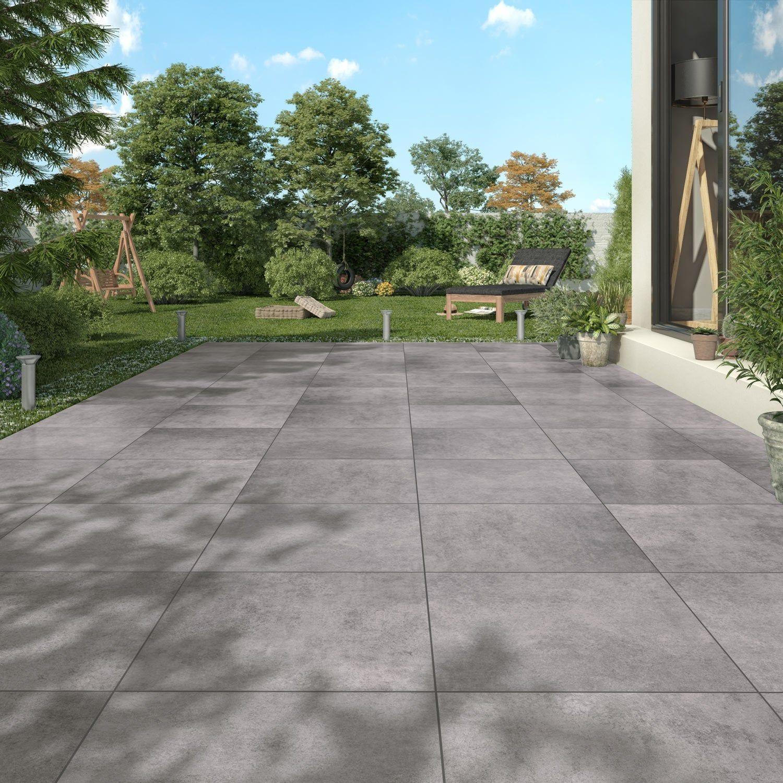 Carrelage Sol Exterieur Intenso Effet Beton Anthracite Calma L 45 X L 45 Cm Sol Exterieur Carrelage Terrasse Exterieur Dalles Terrasse Exterieur
