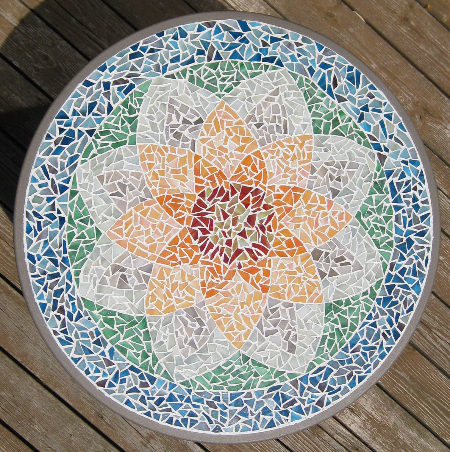 Table Mosaic Patterns: Orange Lotus Mosaic Table - Art Glass I Want