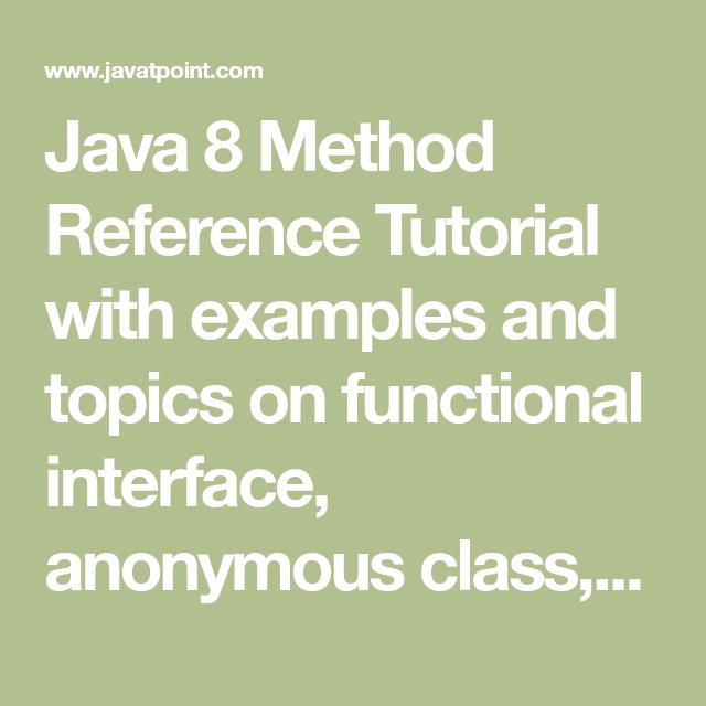 Java 8 Method Reference - javatpoint | Java | Java