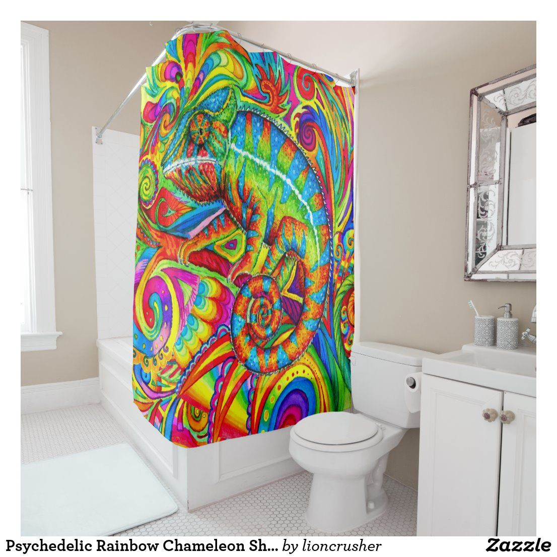 Psychedelic Rainbow Chameleon Shower Curtain Zazzle Com