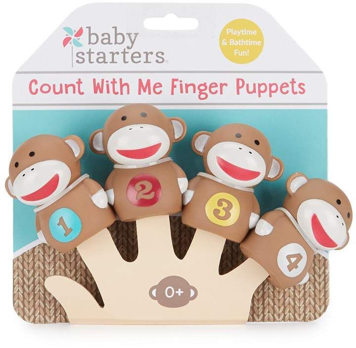 Baby starters sock monkey count with me finger puppet four