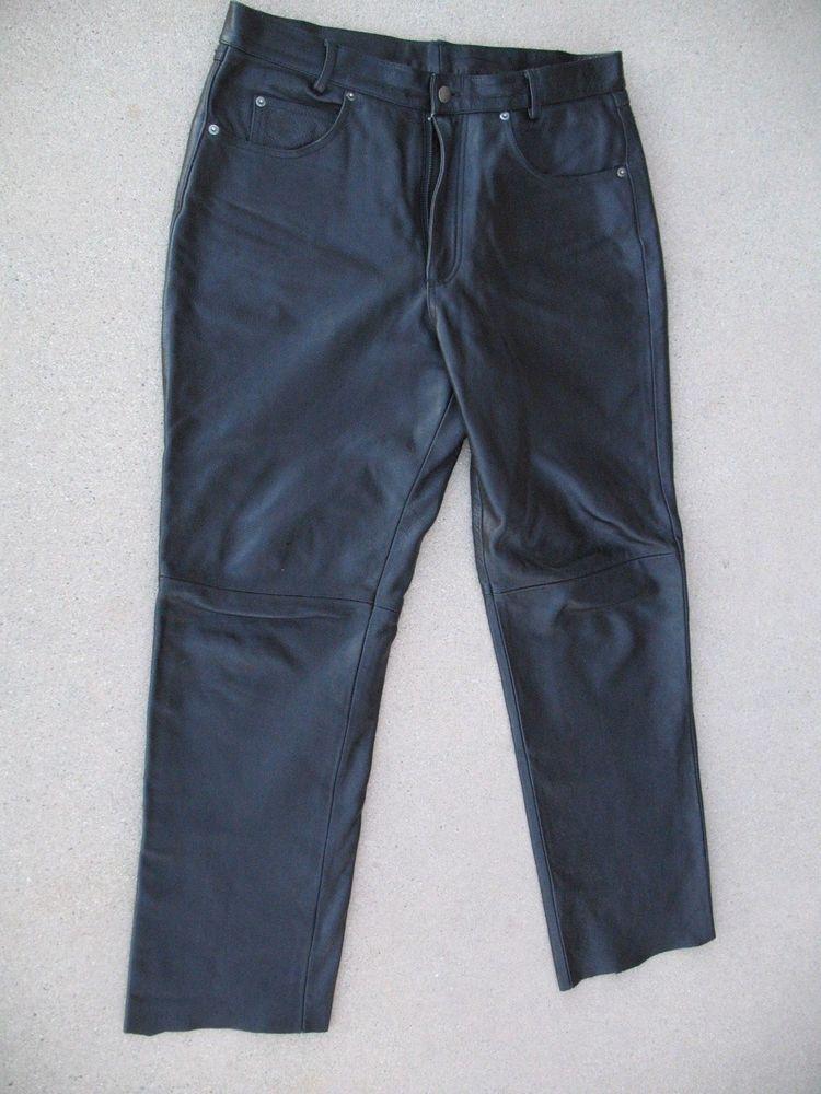 1bcef5a0b45ec Wilson's Black Leather Men's Pants approx 34'' waist 28'' inseam ...