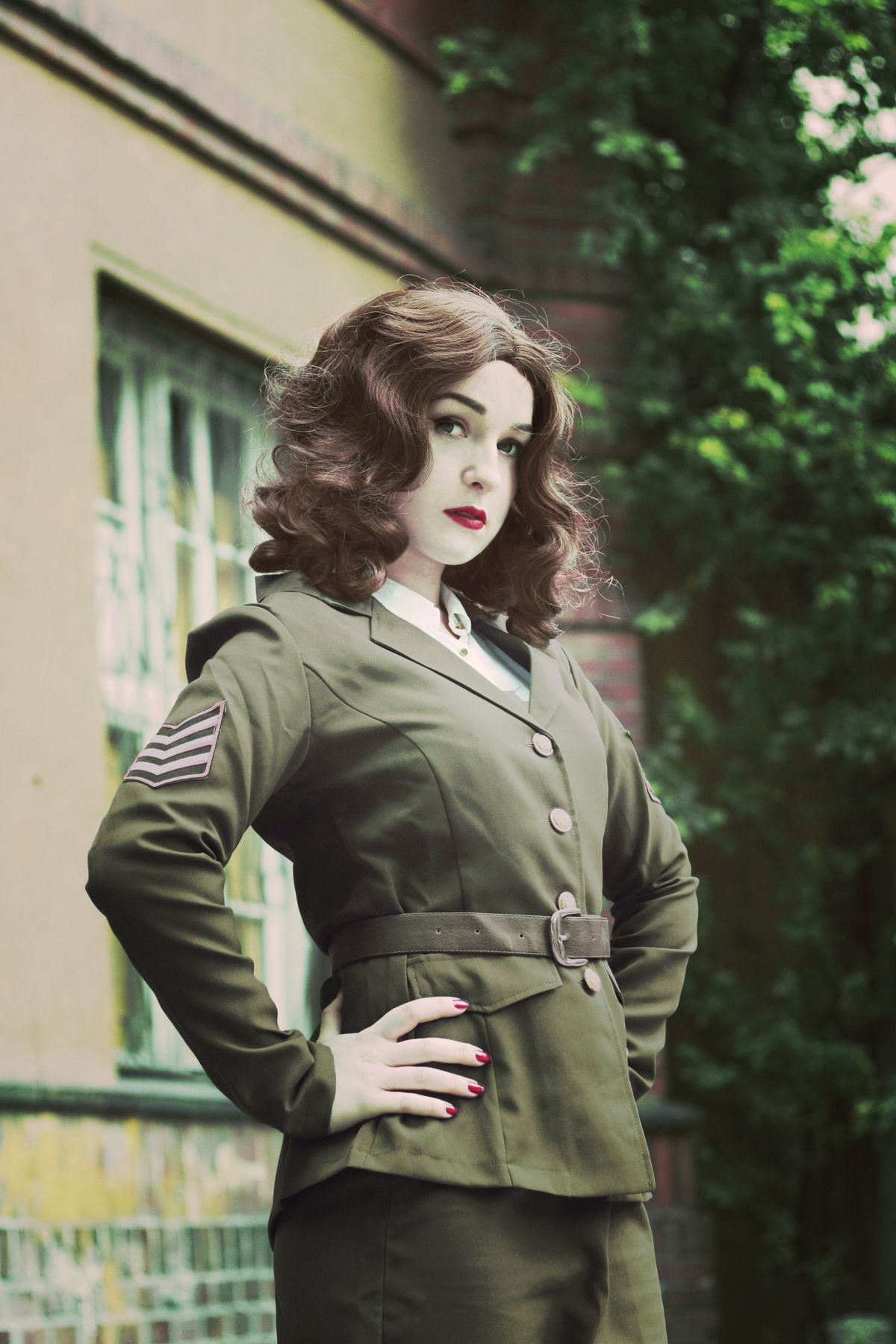 Agent Carter cosplay from MARVEL by @xsilverwolfie , photoshoot for @funidelia || #cosplay #agentcarter #peggycarter #marvel #captainamerica #avengers #shield #uniform #silverwolfie #military #marvelcomics #comics #geeky #geekgirl #portrait #costume #worldwar2