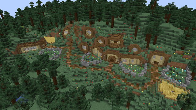 I made a hobbit hole town inspired by Grian s Hermitcraft starter base
