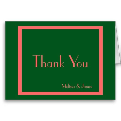 Wedding Thank You Notes, Green & Rose, Personalized with Couple's Names