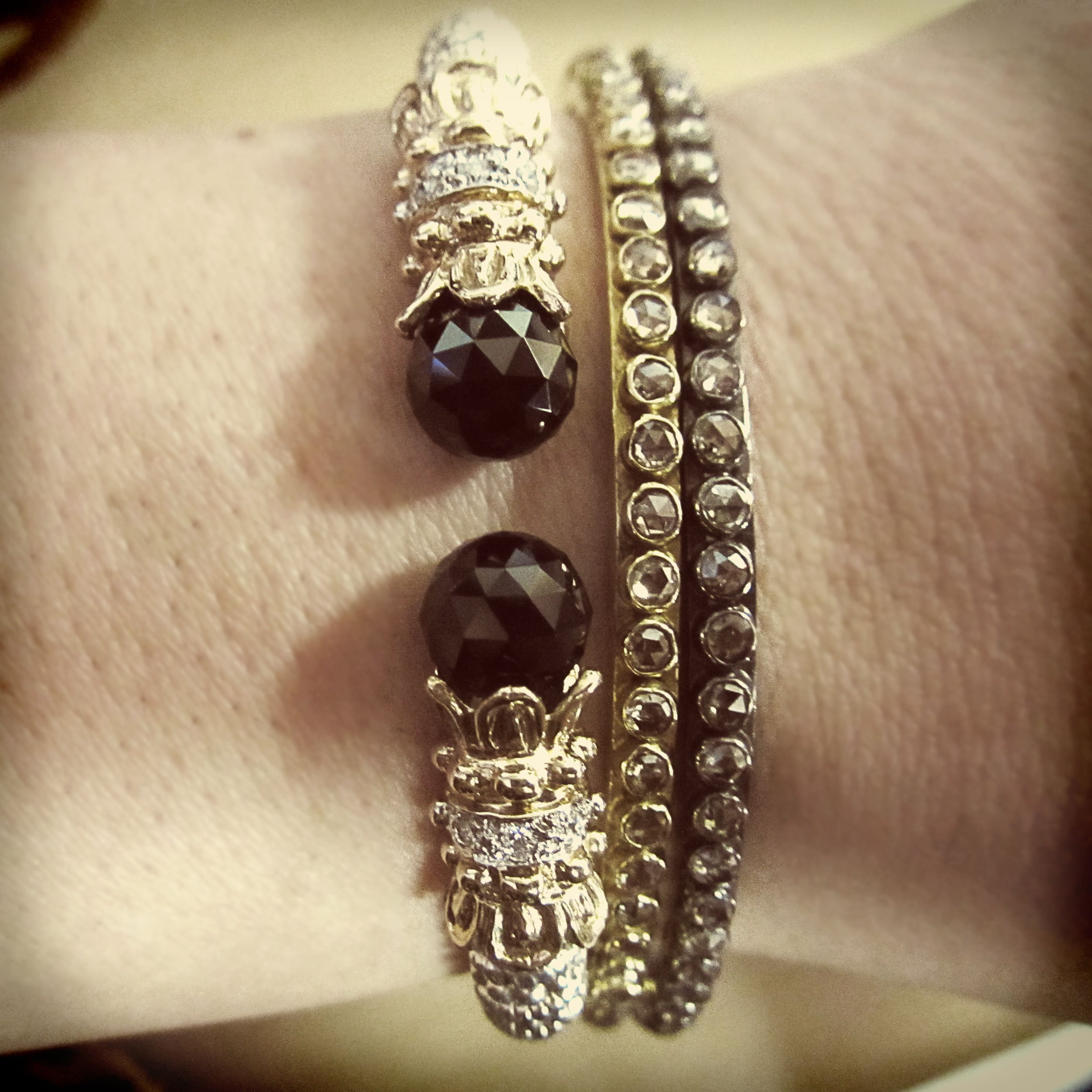 3 Bangles Fit For A Nightoutonthetown Onyx Diamond Bangle Designed By Vahan Yellow Gold Blackgold Rough Cut