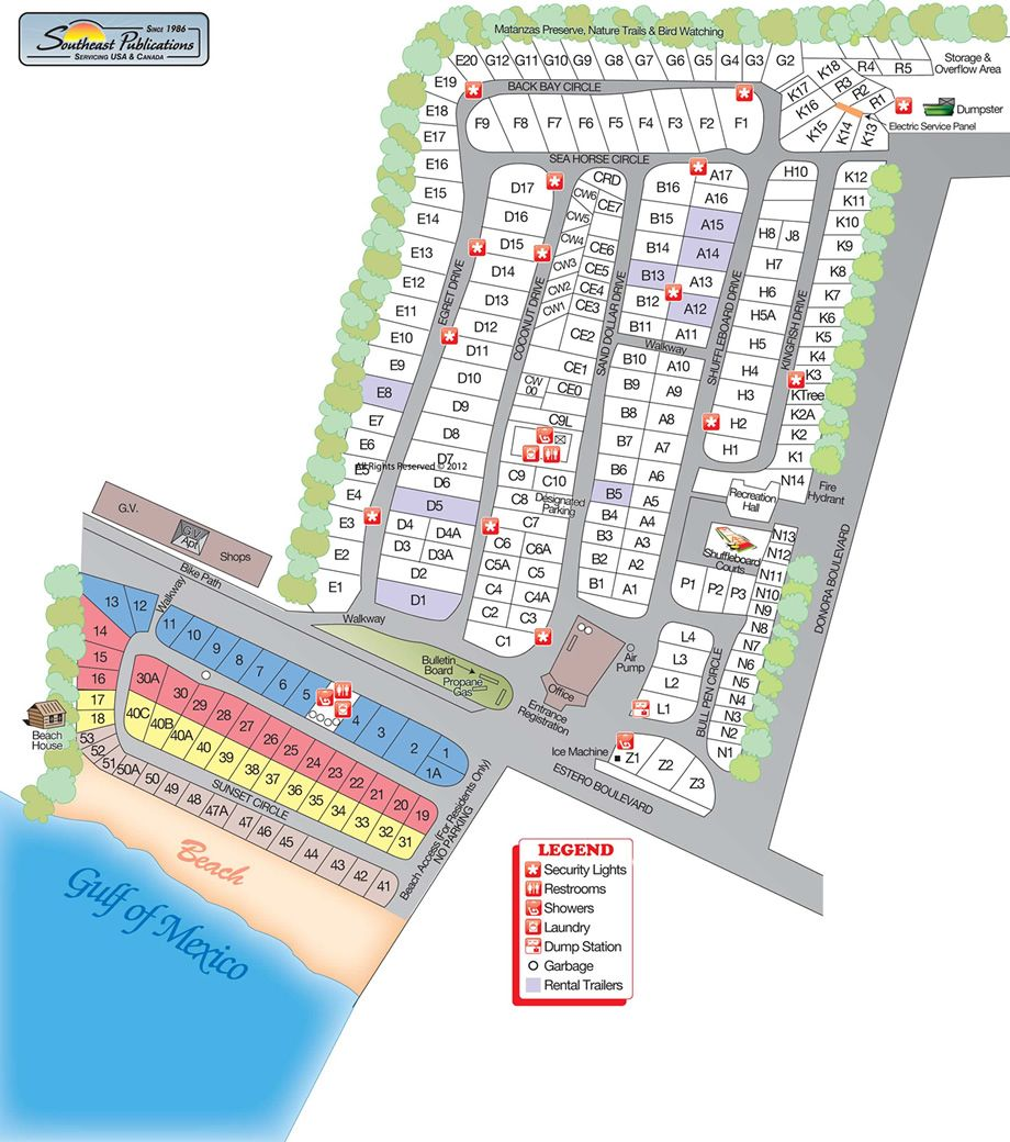 Oceanfront Camping Sites  Red Coconut Rv Park RV Park - Rv parks usa map