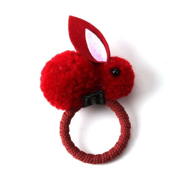 Cute hair ball rabbit baby hair ring hair accessories #kidshairaccessories