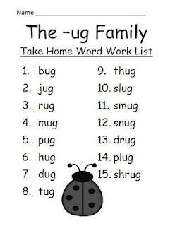 Fern Smith's FREEBIE ~ The -ug Family Spelling {Word Work} Lists ...