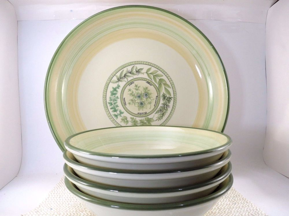 Set of 5 Tre Ci Pasta Serving Bowls VGUC Herb Theme Hand Painted ...