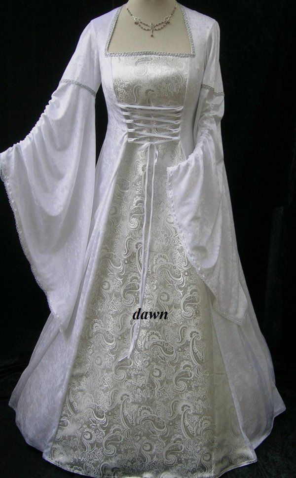 Renaissance Style Wedding Dresses | White and Silver Medieval ...
