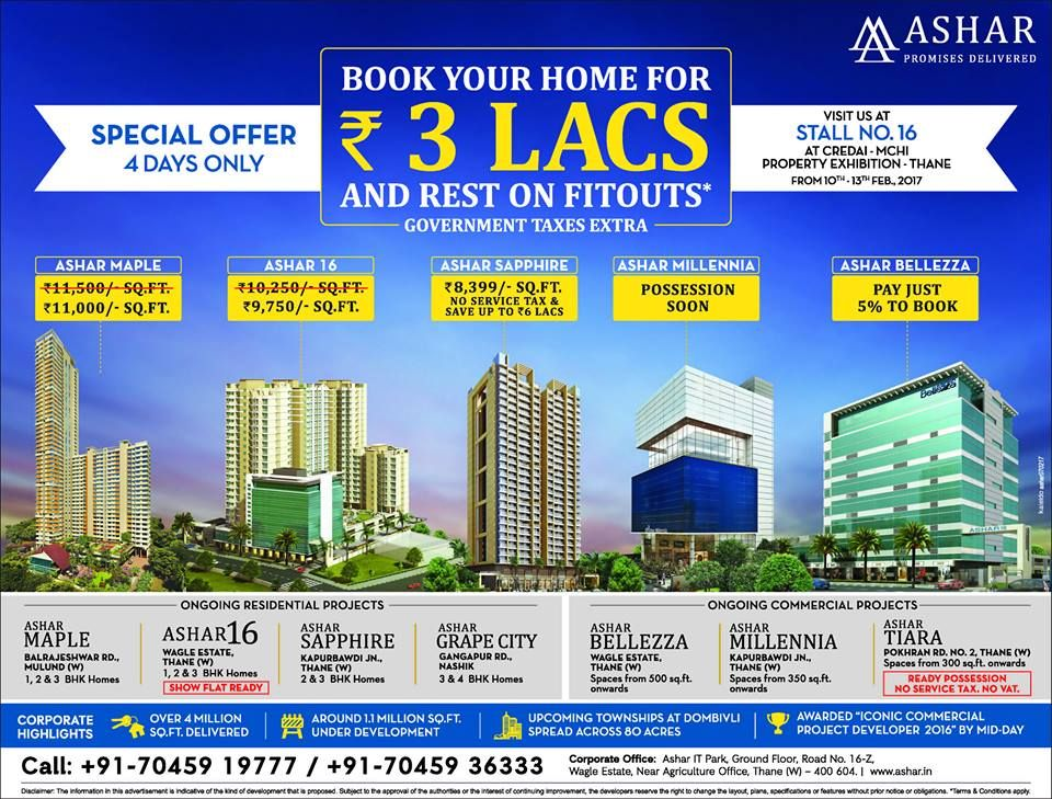 Check out our ad in The Times of India- Thane Ashar Group Visit us at Stall No. 16 at CREDAI - MCHI Property Exhibition - Thane from 10-13th February, 2017 www.ashar.in #AsharGroup #RealEstate #Thane #Property #Exhibition #CREDAI #MCHI #TOI