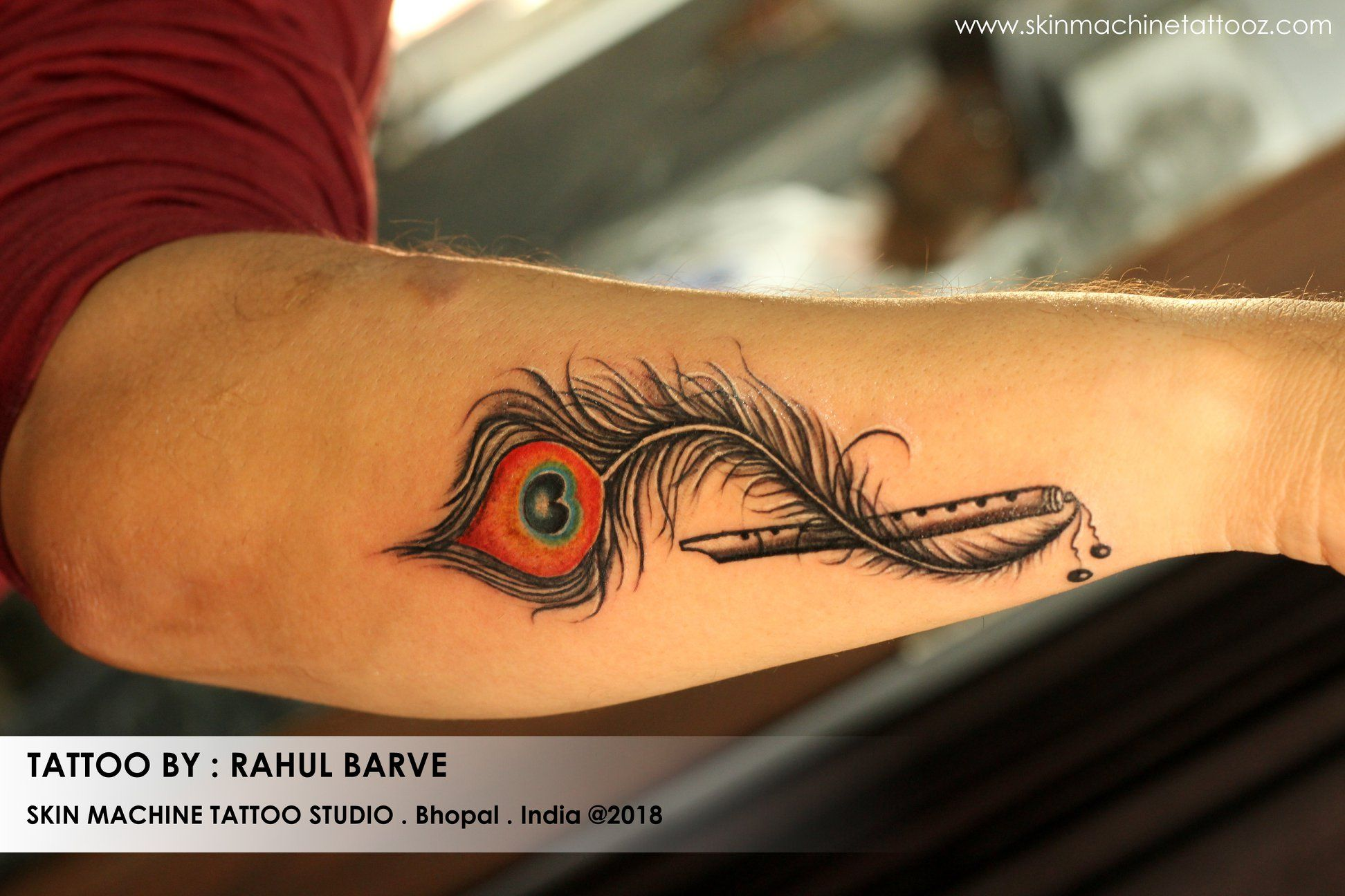 949e0c2f3 Beautiful custom Flute with peacock feather tattoo by our new boy : Rahul  Barve Thanks for looking 🙂 Email for appointments:  skinmachineteam@gmail.com ...