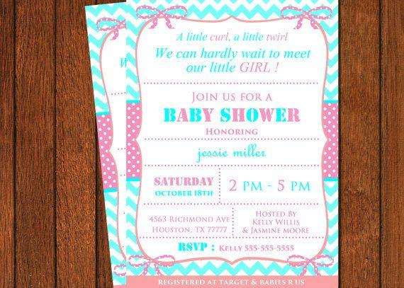 Baby Girl Baby Shower Invitation Digital File by MemoryLanePaperie