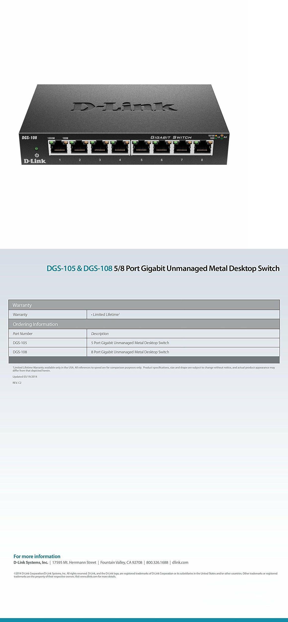DGS-108 D-Link 8 Port Gigabit Unmanaged Metal Desktop Switch