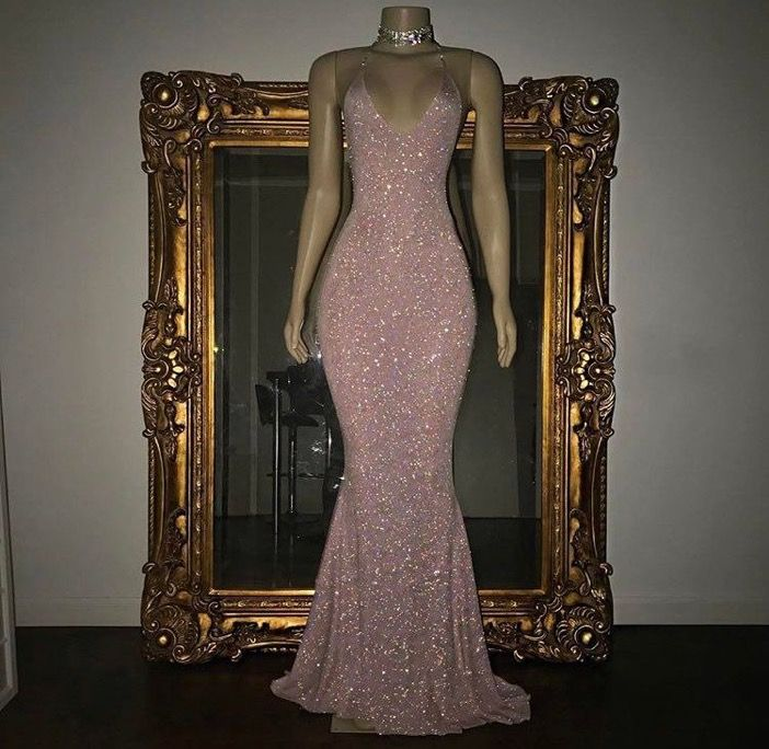 Mermaid Tight Fitted Pink Shimmering Evening Gown/prom