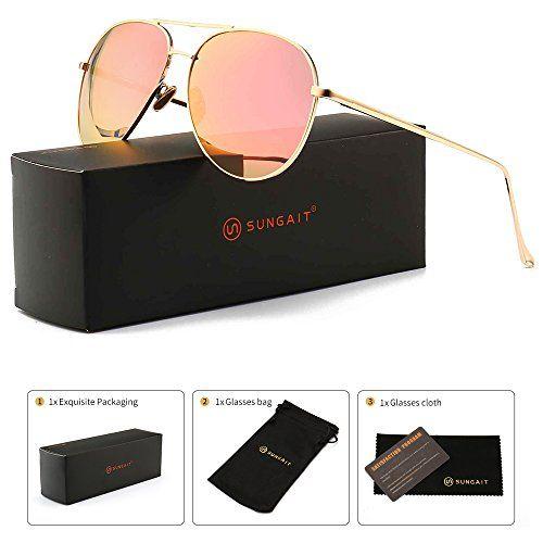 8746db2b2d SUNGAIT Women s Lightweight Oversized Aviator sunglasses - Mirrored  Polarized Lens (Light-Gold Frame Pink Mirror Lens