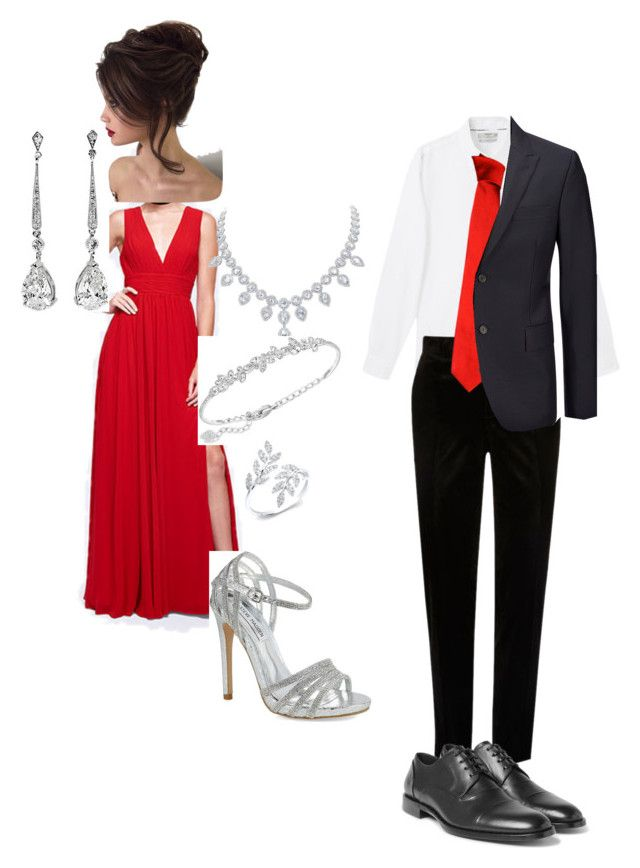 Prom 23 by thelilysweetwolf on Polyvore featuring polyvore, fashion, style, Fame & Partners, Steve Madden, Anne Sisteron, Swarovski, Joseph, Dolce&Gabbana, Versace, MANGO MAN, River Island and clothing