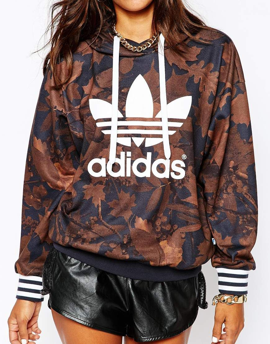 Image 3 of adidas Oversized Hoodie With All Over Camo Leaf Print   Trefoil  Logo 662ff0db9da