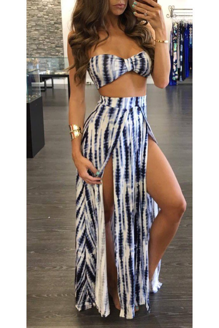 Striped Crop Top with High-waisted Split Skirt Two Pieces Dress Set ... e3469dd97699