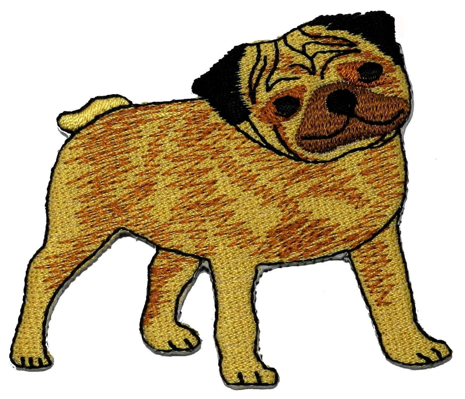 Pug dog  embroidered iron on patch 3/""