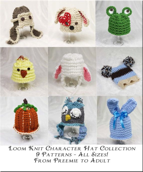 Loom Knit Character Hat PATTERN Collection 9 by ThisMomentisGood ...