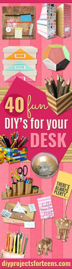 Fun DIY Ideas for Your Desk - Cubicles, Ideas for Teens and Student - Cheap Dollar Tree Storage and Decor for Offices and Home - Cool DIY Projects and Crafts for Teens http://diyprojectsforteens.com/diy-ideas-desk