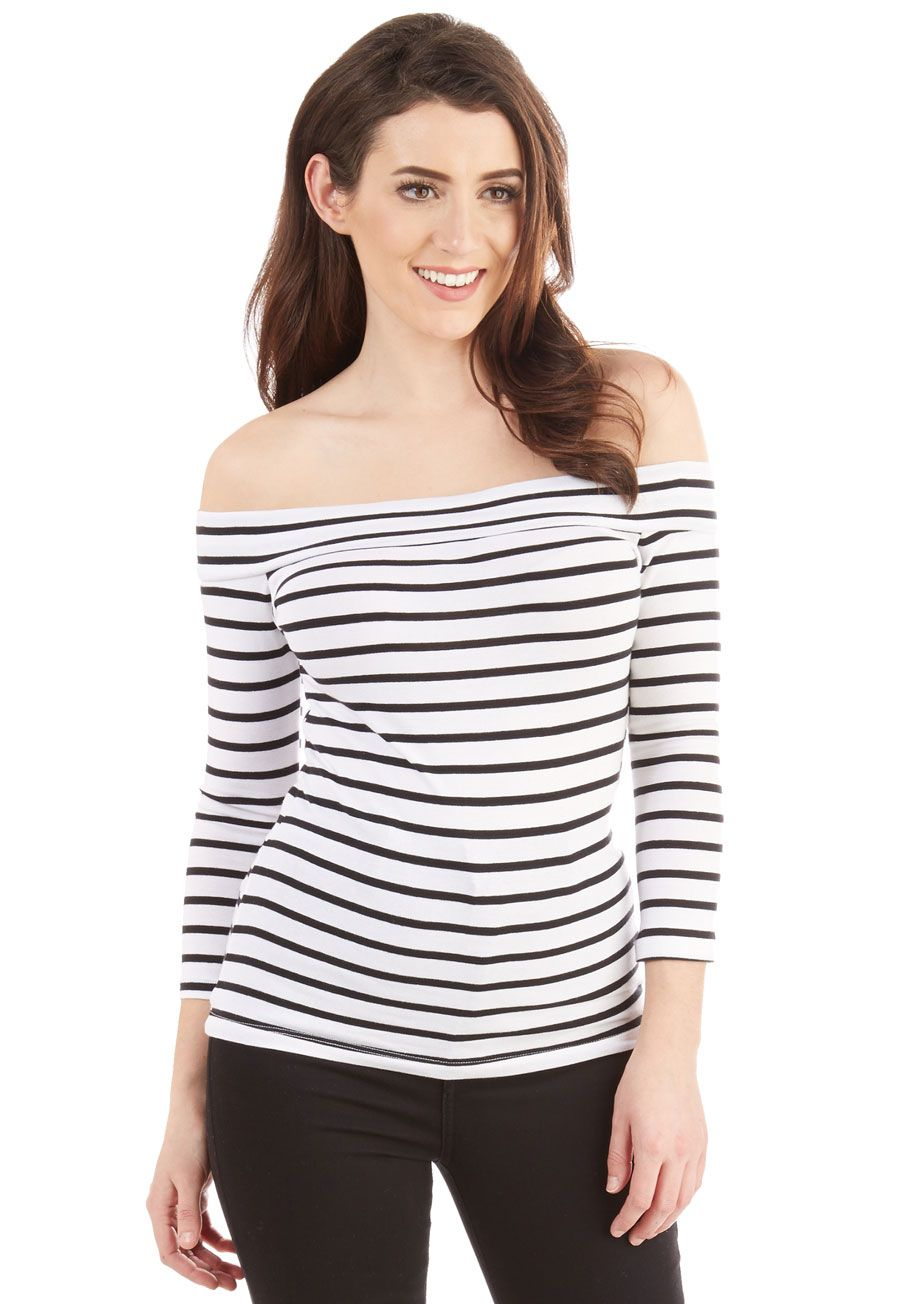 b79d9bf2daec Cafe Parfait Top in White Stripes - 3 4 Sleeves. Secure a window seat at  your favorite coffee shop in this black and white top - a ModCloth  exclusive!