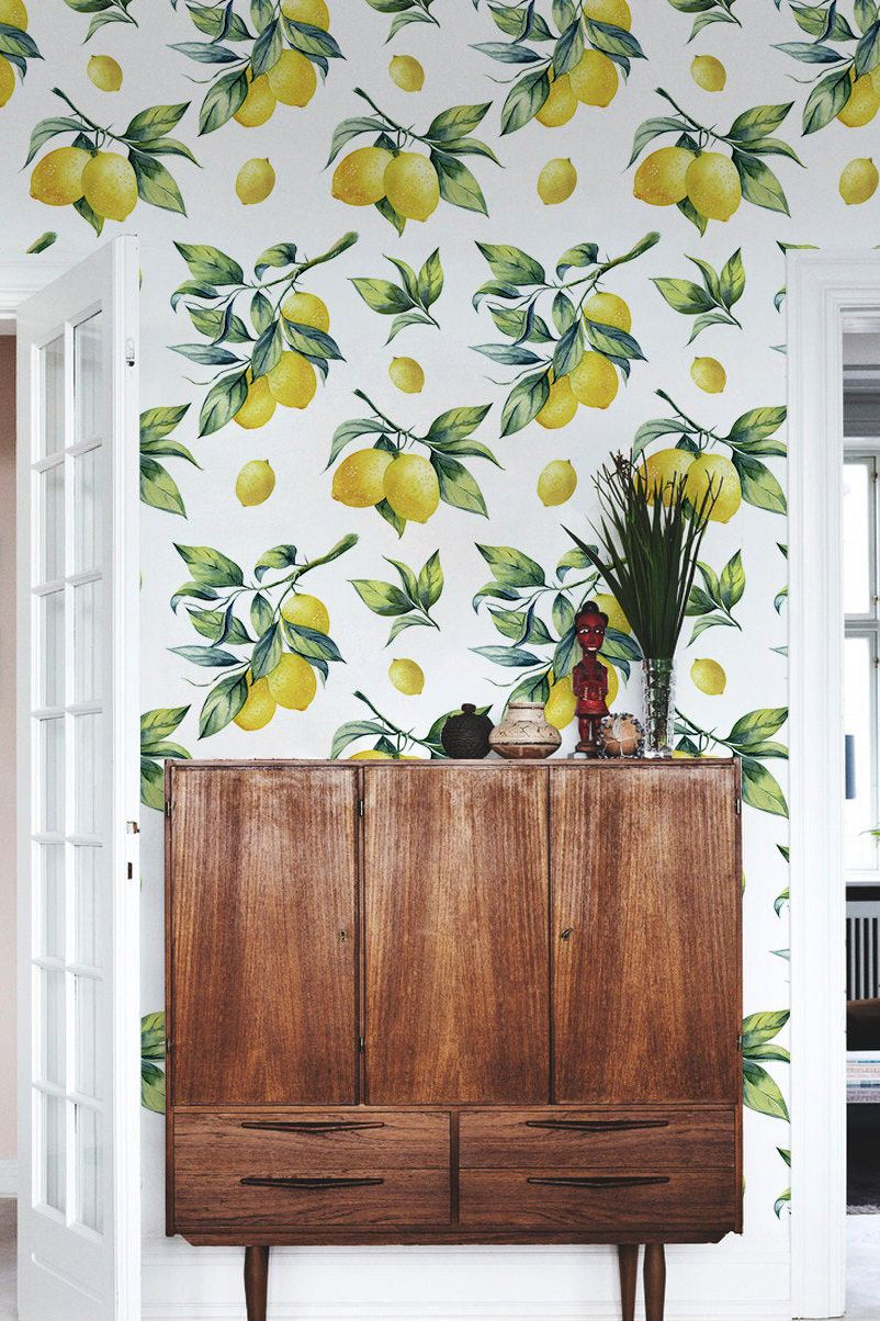 Lemon wallpaper, watercolor yellow vibrant wall mural