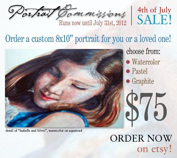 SALE  Original Custom Commission Portrait watercolor 8 x 10 inches by Redstreake SALE. $75.00, via Etsy.
