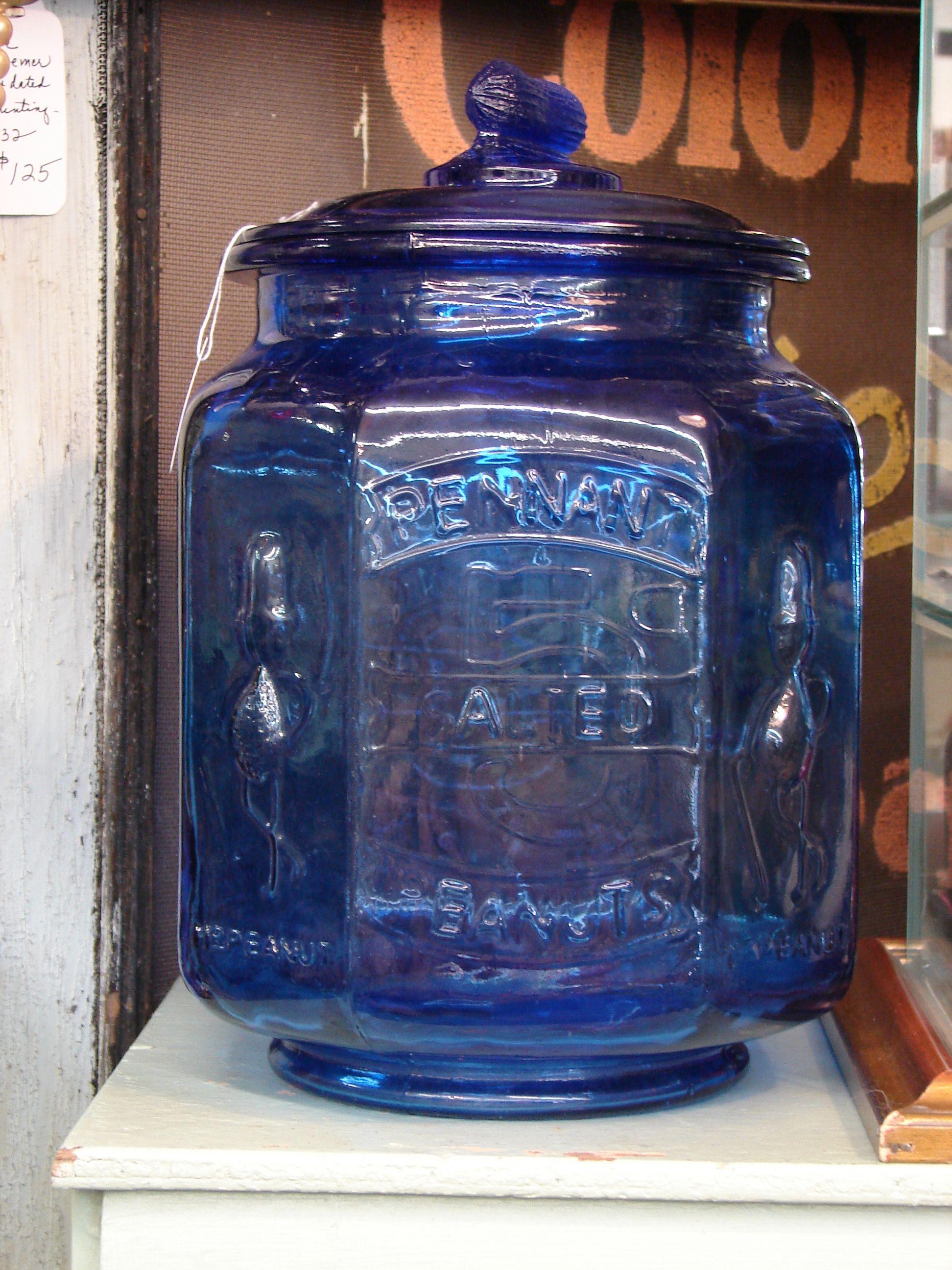 Vintage Planters Peanut Cobalt Blue Jar 95 00 Blue Bottle Vintage Jars Cobalt Glass