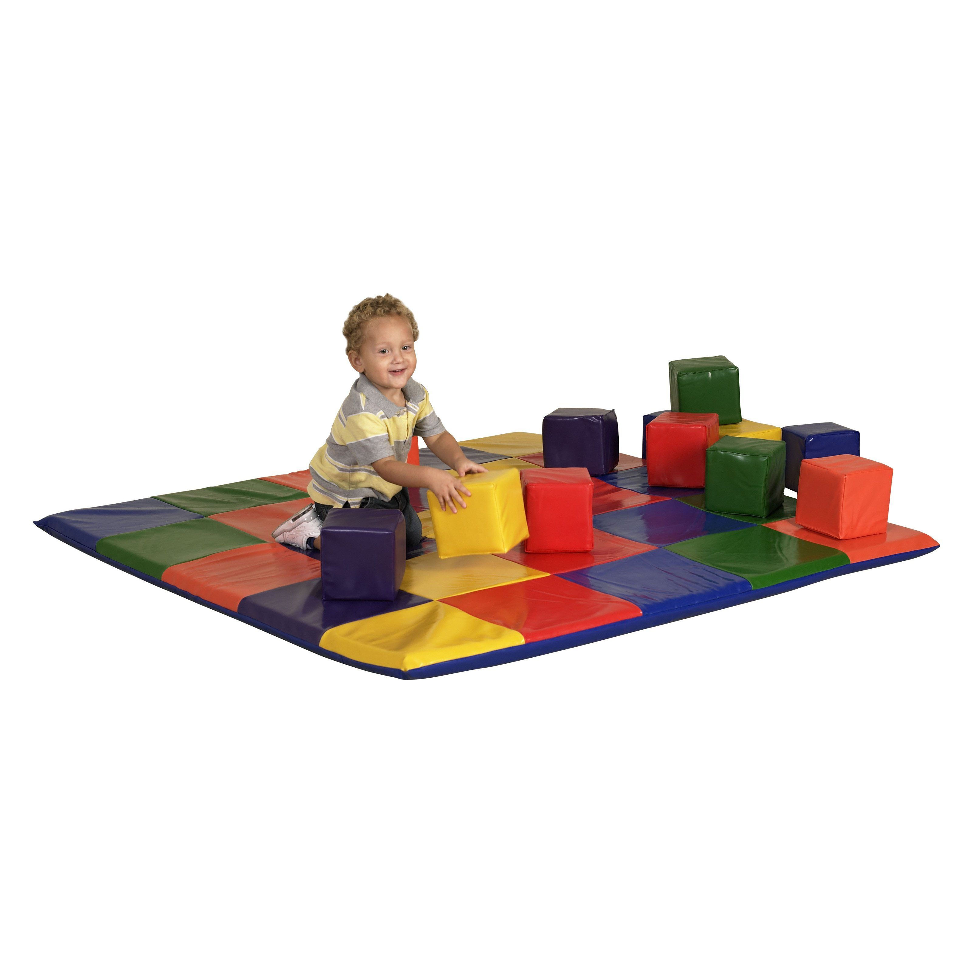 Have to have it. ECR4KIDS Patchwork Toddler Mat and Toddler Blocks Soft Play $184.98