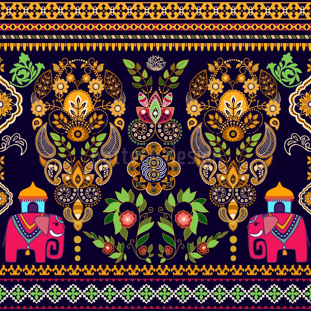 Indische Elefanten Umfarbbarer Baumwollstoff Viskose O Baumwoll Jersey Designt Von Tania Anisimova Www Stoff Love Indischer Elefant Handgezeichnete Blumen Elefanten Stoff