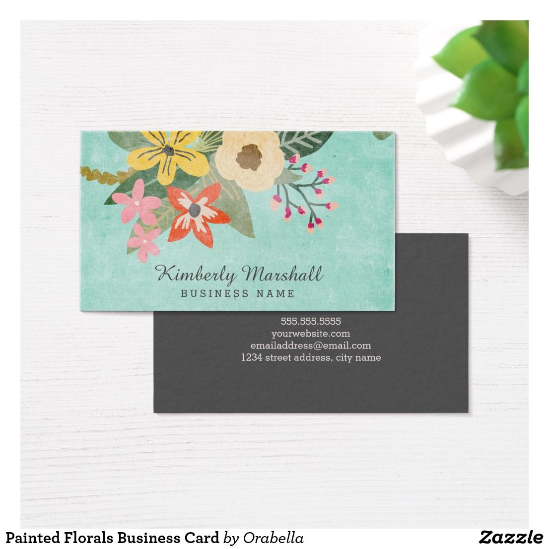 Painted Florals Business Card | Chic Business Cards for Networking ...