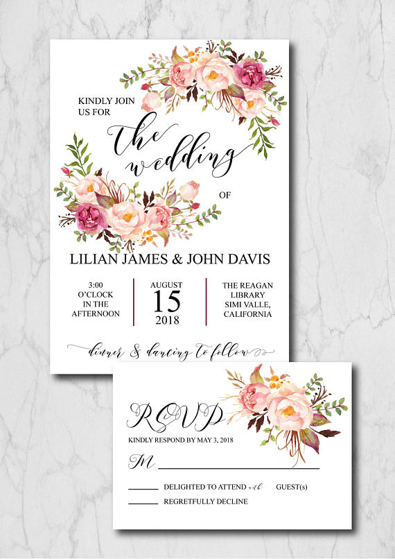 Blush Wedding Invitation Suite Template Rustic Wedding Invitation