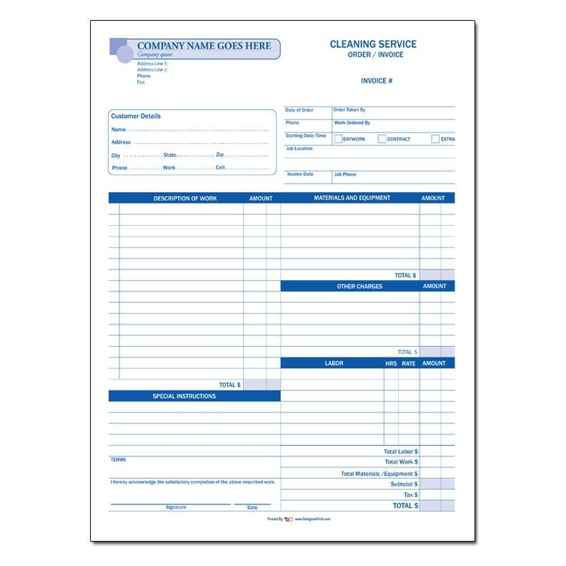 cleaning invoice
