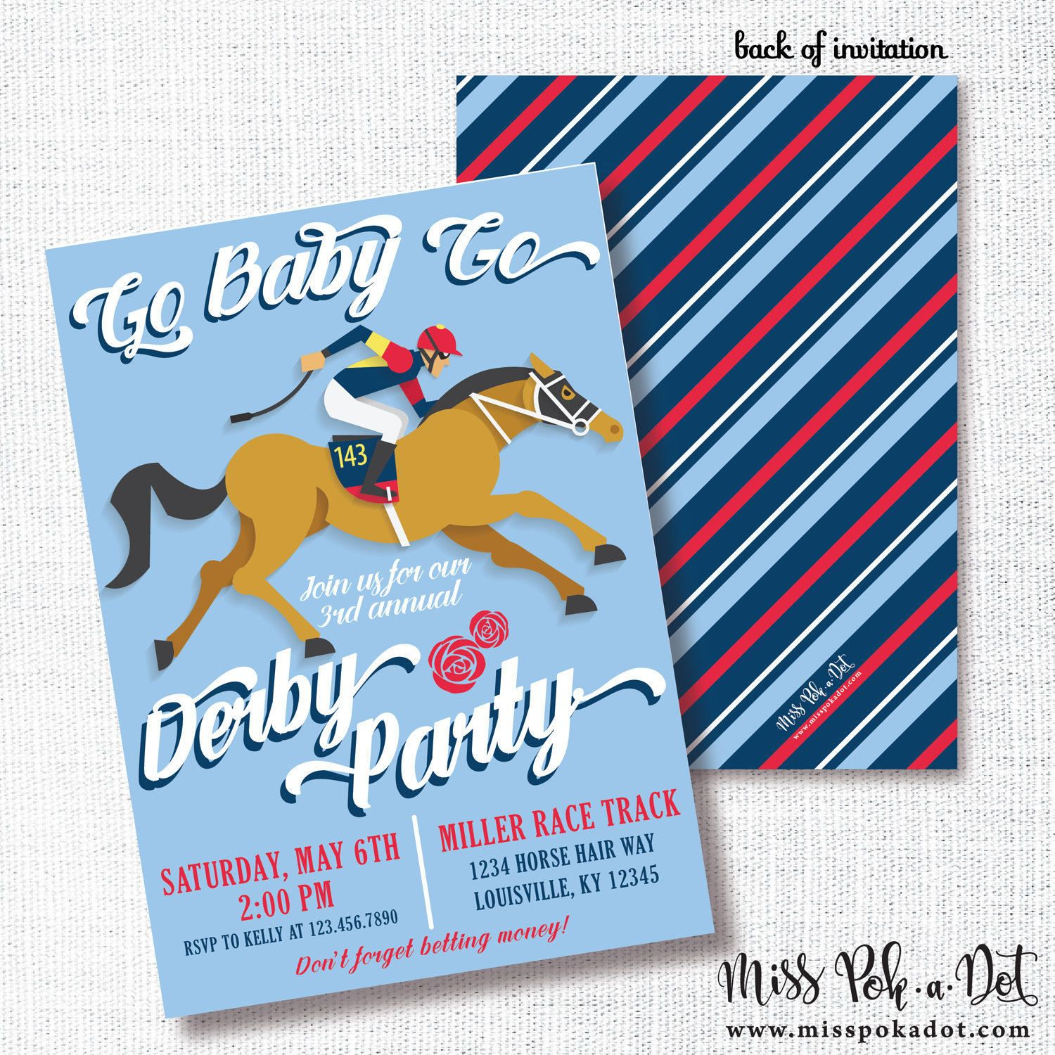 GO BABY GO Kentucky Derby party invitation horse racing party