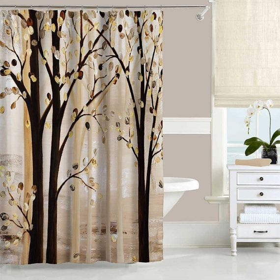 Beige Brown Shower Curtain Set Bath Mat Trees Nature Forest