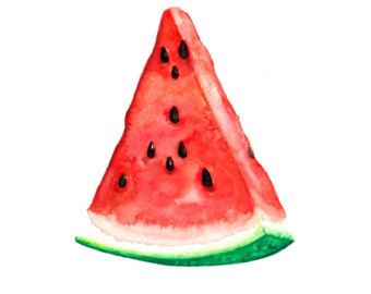 Watermelon Watercolor Painting Original Fruit 5 x 7