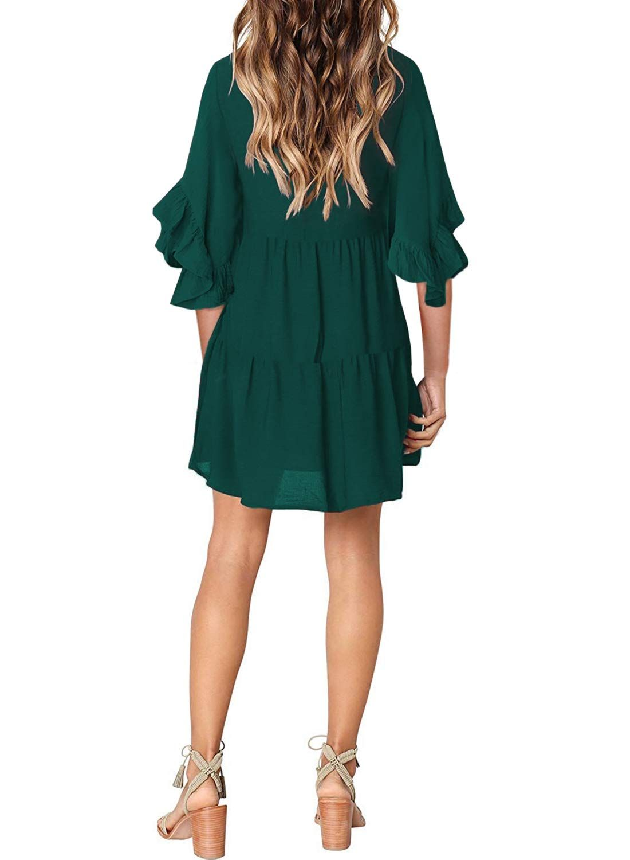 Eytino Women Summer Tunic Dress V Neck Long Sleeve Casual Loose Flowy Swing Shift Dress S Xl Spon Shift Swing Dress Long Sleeve Casual Vintage Dresses Casual [ 1500 x 1100 Pixel ]