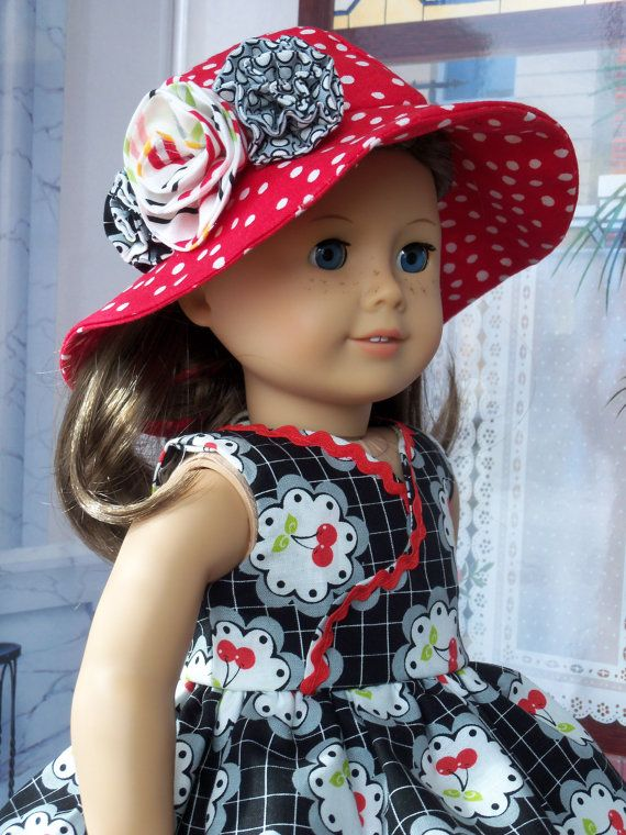 Summer Wrap Bodice Dress and Hat / Clothes for American Girl Dolls ...