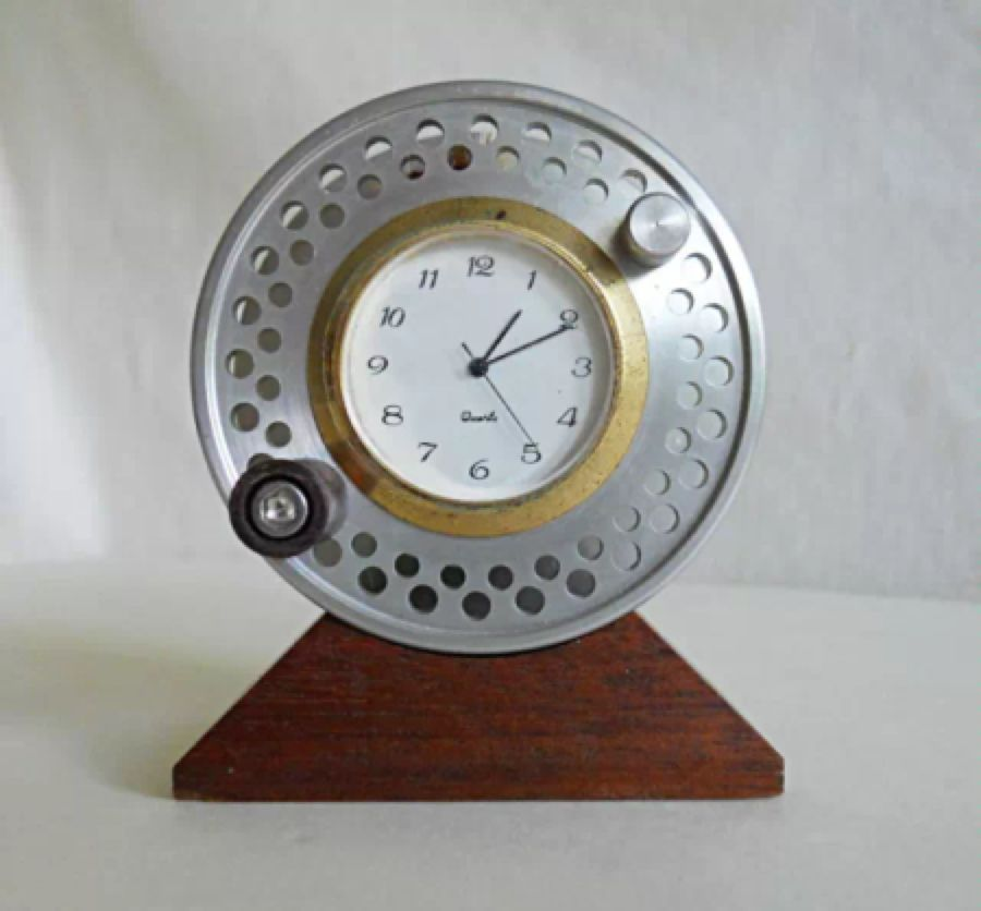 Fishing Reels Fly Gift Ideas Decor Office Clocks Vintage Quartz Equipment