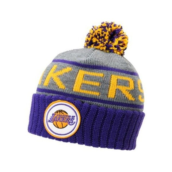 419a2657856 NBA Mitchell and Ness Los Angeles Lakers Pom Beanie ( 30) ❤ liked on  Polyvore