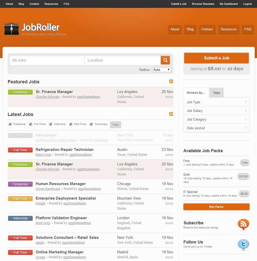 resume wordpress theme demo