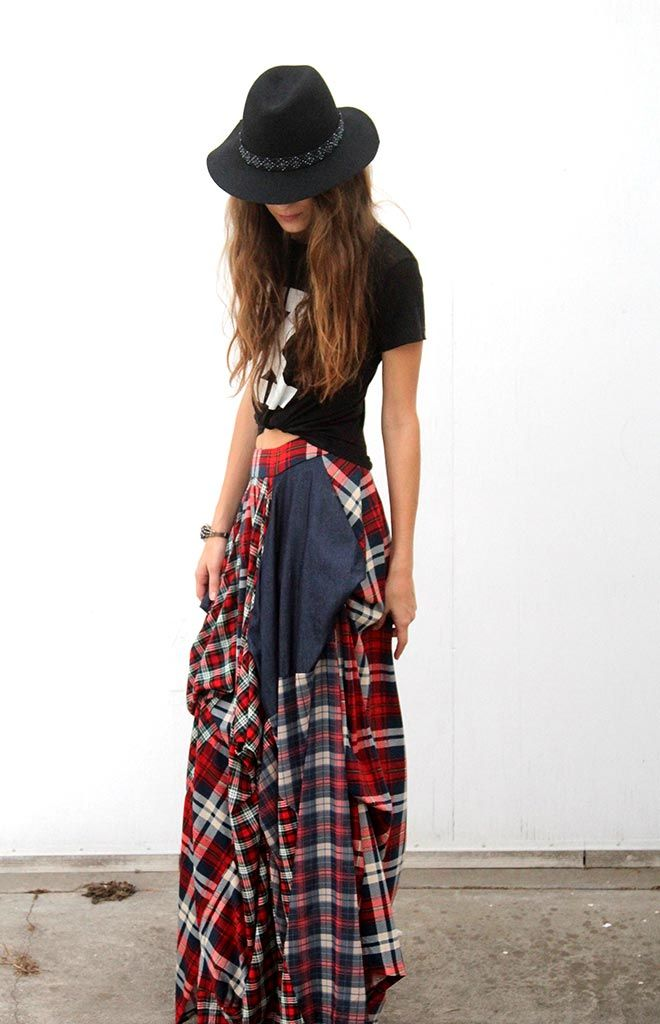 TOV Plaid Patchwork Maxi Skirt | FASHION | Pinterest | Plaid, We ...