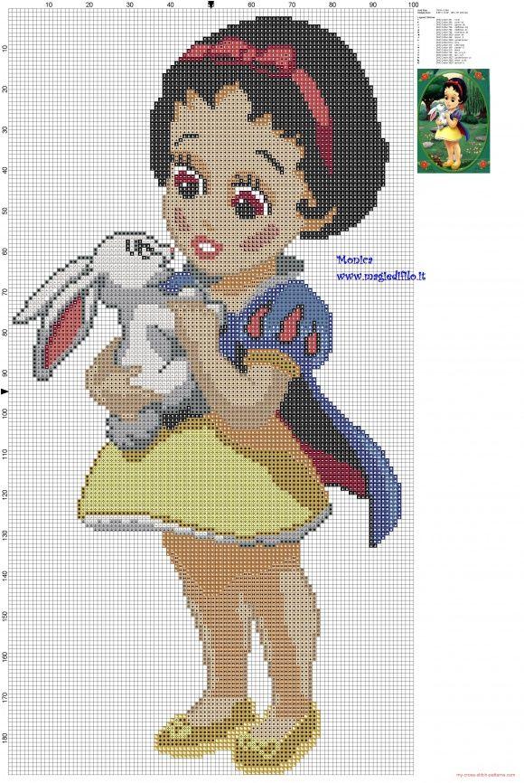 La pequeña Blancanieves patron punto de cruz | Decoracion Disney ...