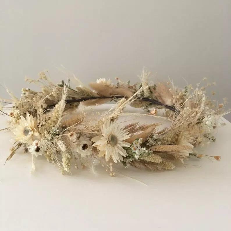 headdress and tiaras pampa bridal headdress bridesmaid headdress wedding hair accessories dried and preserved flowers bridal headdress